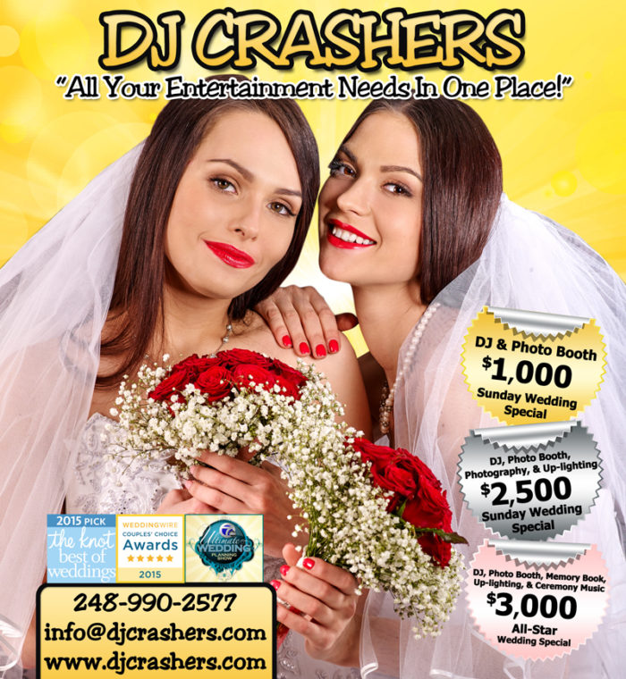 DJ Crashers ad in Detroit Wedding Day
