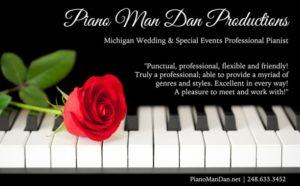 Piano Man Dan Productions ad in Detroit Wedding Day